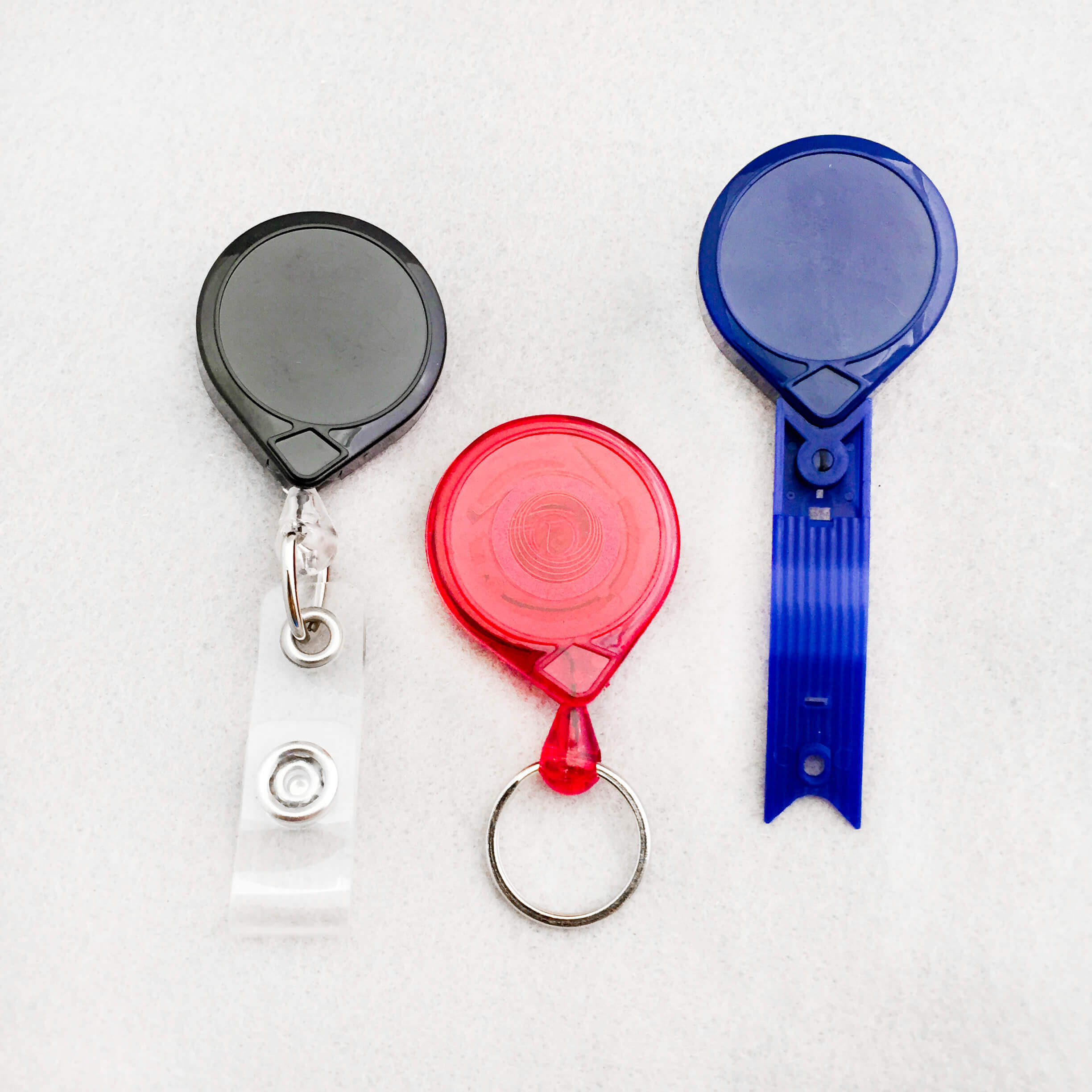 Mini-Bak Badge Reels, Manufactured by Key-Bak in U.S.A.
