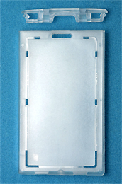 Locking ID Badge Card Case - Vertical Frosted Plastic 706-LN or 1840-6630