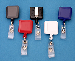 Square Badge Reel 530-I-BLK - Vinyl Strap and Slide Clip - Solid Colors  25 Pack