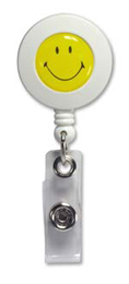Round Badge Reel with Yellow Smiley Face Domed Label Vinyl Strap and Slide Clip